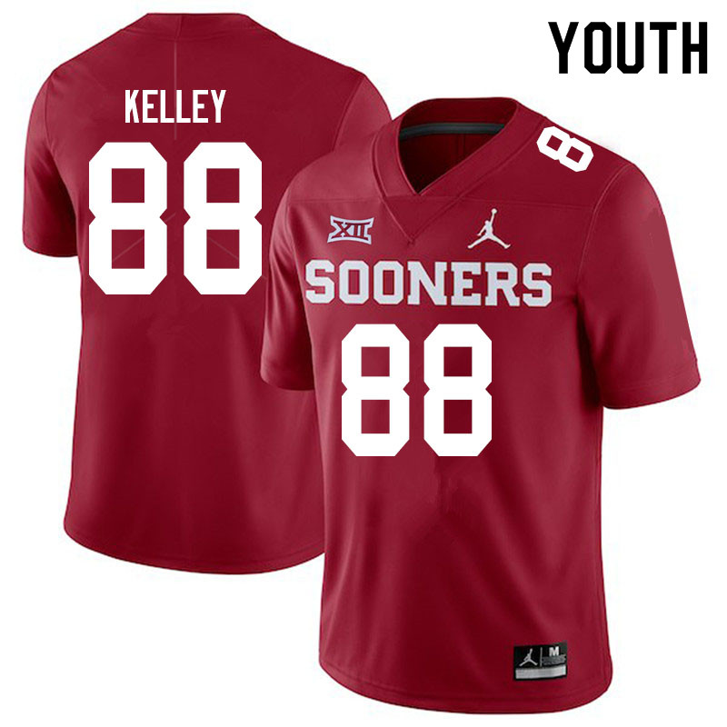 Youth #88 Jordan Kelley Oklahoma Sooners Jordan Brand College Football Jerseys Sale-Crimson